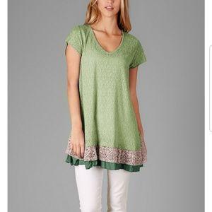 ▪︎(M) Green & Pink Lace Hem Tunic▪︎